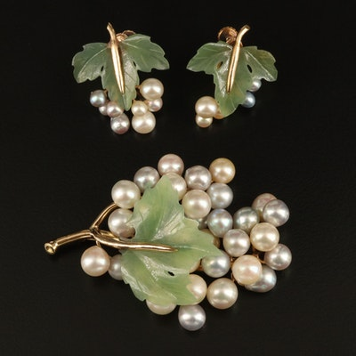 14K Pearl and Nephrite Grape Brooch and Screw Back Earrings