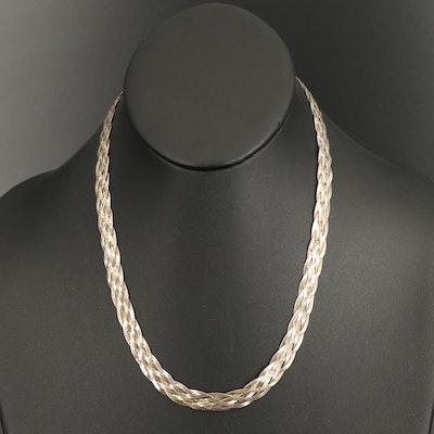 Italian Sterling Silver Braided Herringbone Chain