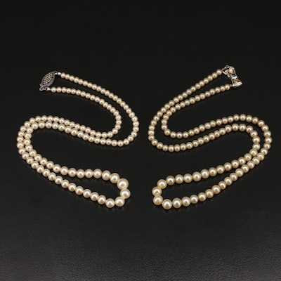 14K Imitation Pearl and Sapphire and Sterling Imitation Pearl Necklaces