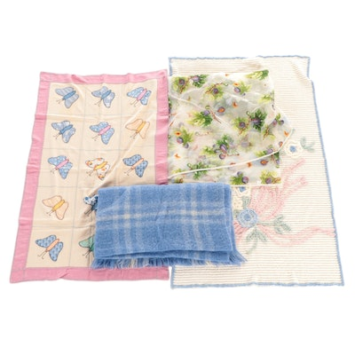 Chenille Throw with Appliqué Crib Quilt and Other Textiles