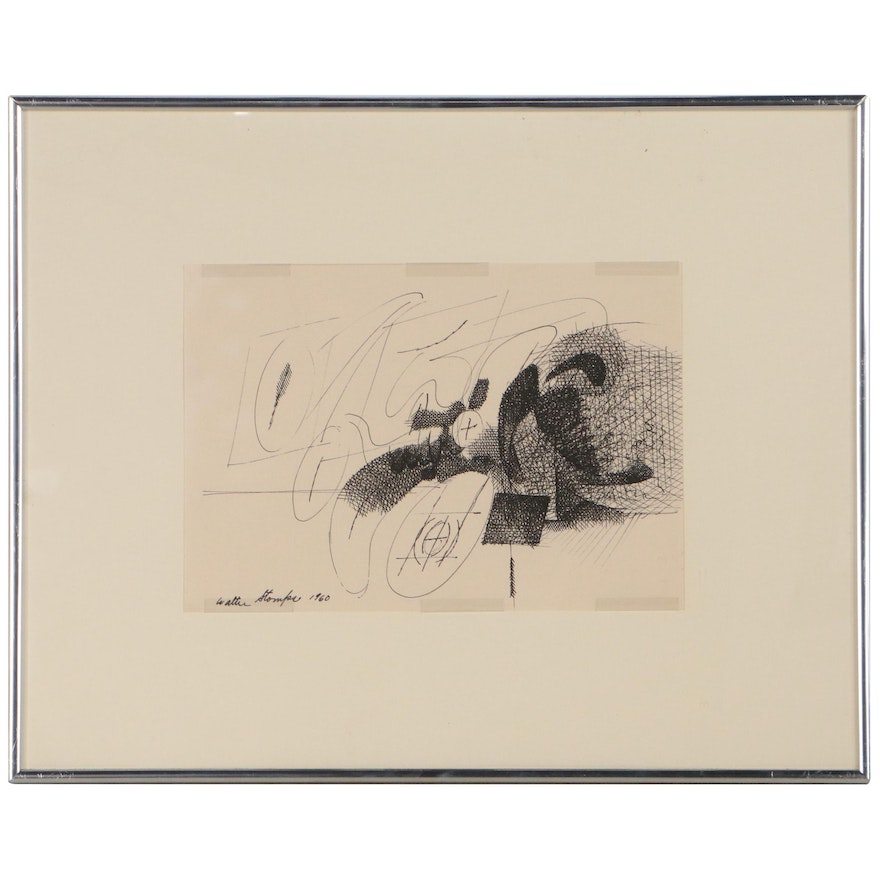 Walter Stomps Abstract Ink Drawing, 1960
