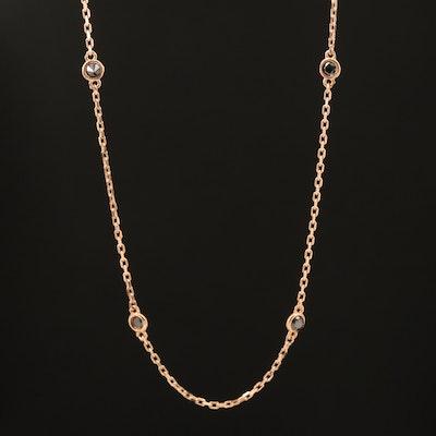18K Rose Gold 0.27 CTW Bezel Set Black Diamond Station Necklace