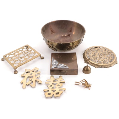 Chinese Brass Bowl, Trivets, Dinner Bell, Trinket Box, and Other Items