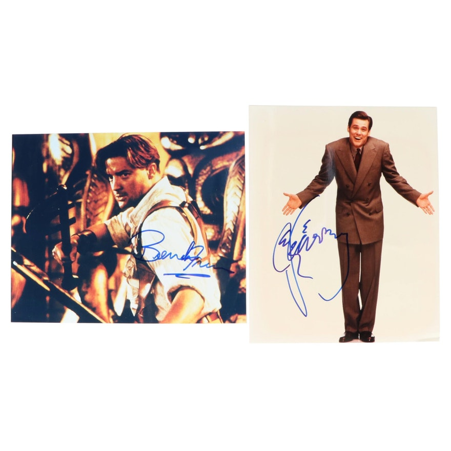 Brendan Fraser and Jim Carey Signed Movie Photo Prints