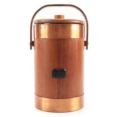 Teak and Brass Ice Bucket, Mid 20th Century