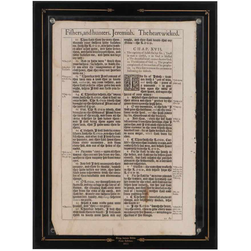 """1611 """"King James Pulpit Bible,"""" Leaves from Book of Jeremiah , First Edition"""