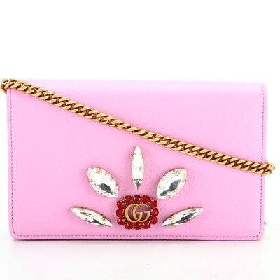 Gucci GG Marmont Crystal Chain Wallet in Lilac Grained Leather