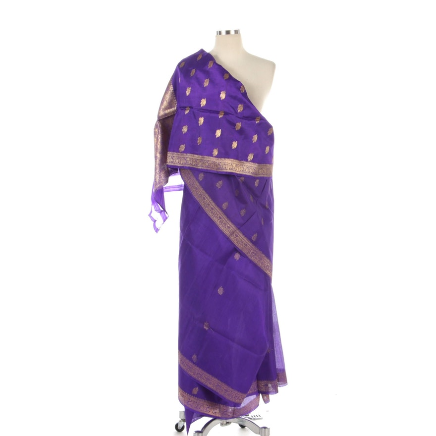 Gold Metallic Floral Embroidered Indigo Purple Saree with Packaging