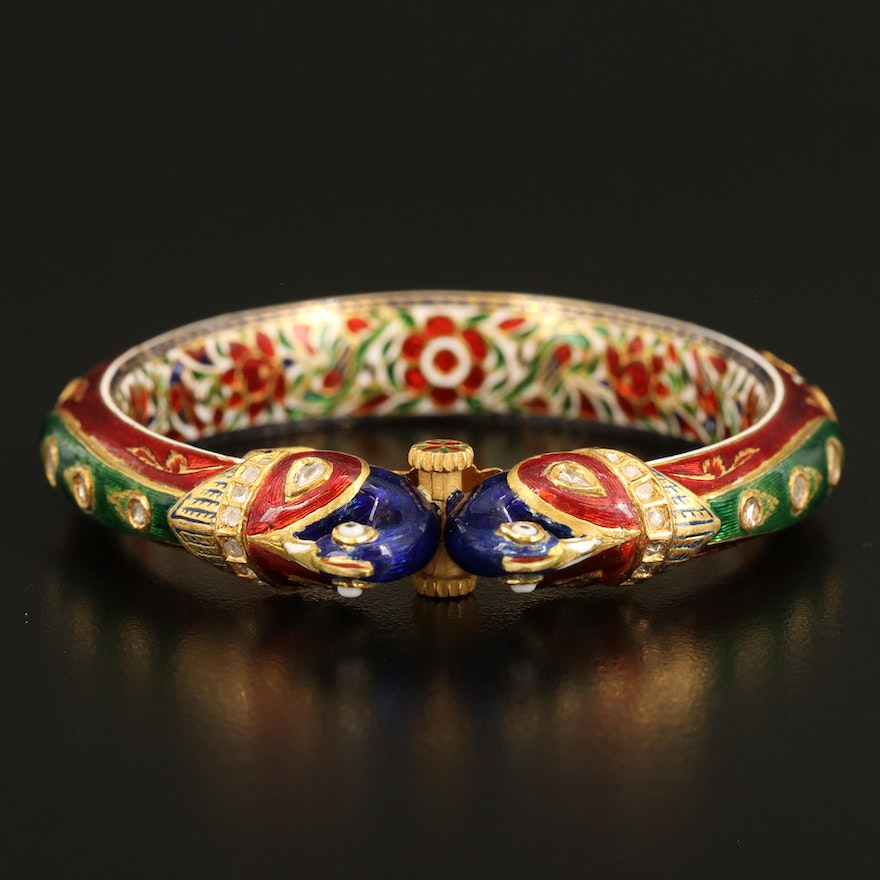 Mughal Style 18K Cloisonné Enamel, Diamond and Glass Addorsed Peacock Bangle
