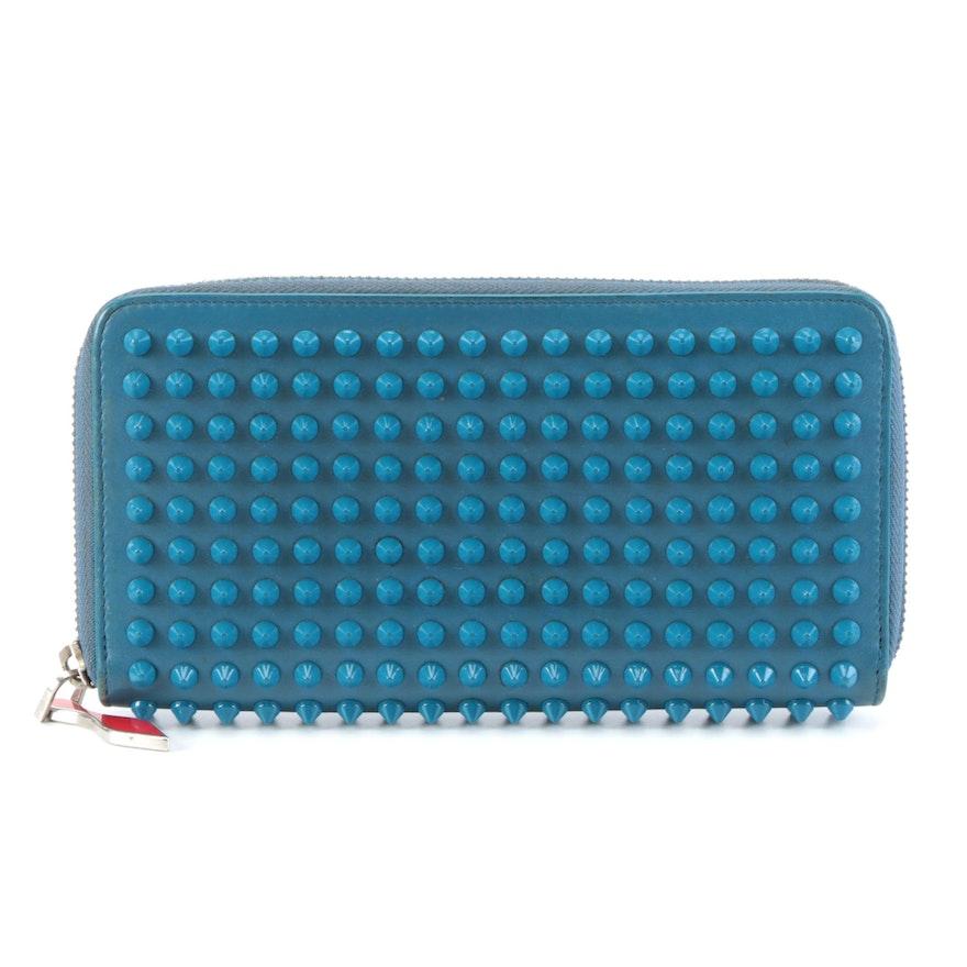 Christian Louboutin Spiked Blue Calfskin Leather Panettone Zip Wallet