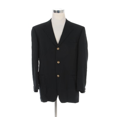 Men's Versace Classic V2 Jacquard Suit Jacket with Leopard Print Lining