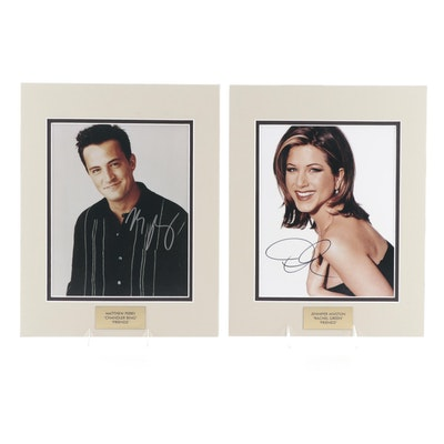 "Matthew Perry and Jennifer Aniston Signed ""Friends"" Photo Prints, COAs"