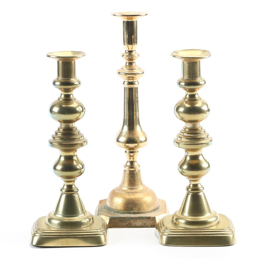 Inverted Beehive Push-Up and Other Queen Anne Style Brass Candlesticks