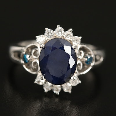 Sterling Sapphire, Diamond and Zircon Ring with Heart Shoulders