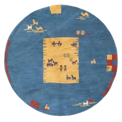 6'5 Round Hand-Tufted Indian Pictorial Area Rug