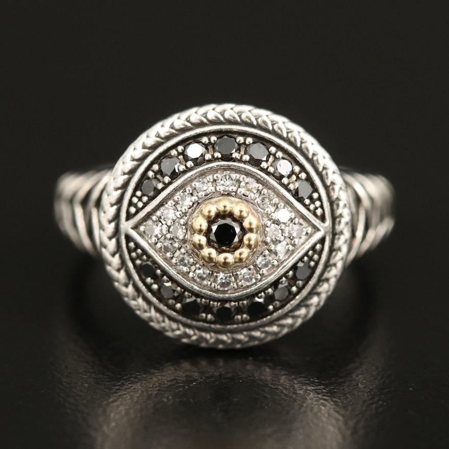EFFY Sterling and 18K Diamond Evil Eye Ring