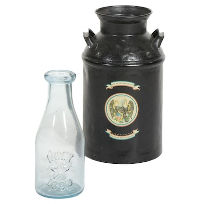 Glass Milk Jug and Cast Metal Milk Canister with Handles