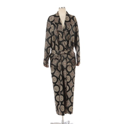 Unisex Brocade Shawl Collar Robe with Cord Trim and Silk Lining