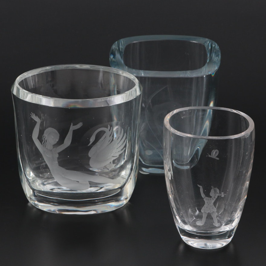 Ekenäs and Other Swedish Etched Glass Vases