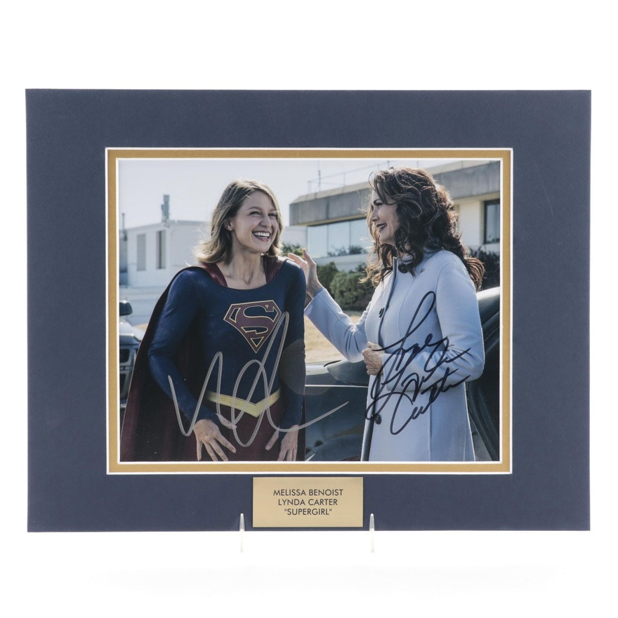 "Melissa Benoist and Lynda Carter Signed ""Supergirl"" Television Series Print"