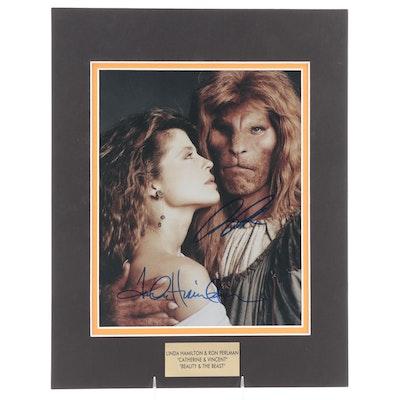 "Linda Hamilton & Ron Perlman Signed ""Beauty & The Beast"" Television Series Print"