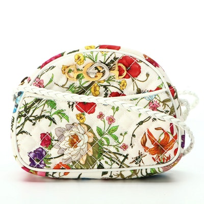 Gucci Mini Zumi Dome Shoulder Bag in Quilted Flora Floral Canvas