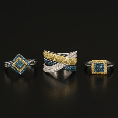 Sterling Diamond Rings with Sterling Diamond Crossover Band