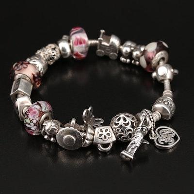 Pandora Sterling Silver Enamel, Cubic Zirconia, Glass, and Gemstone Bracelet