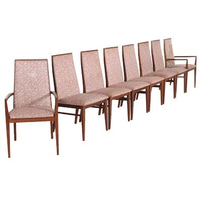 Eight Dillingham Mid Century Modern Walnut Dining Chairs