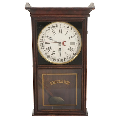 Wooden Regulator Calendar Clock, Late 19th to Early 20th Century