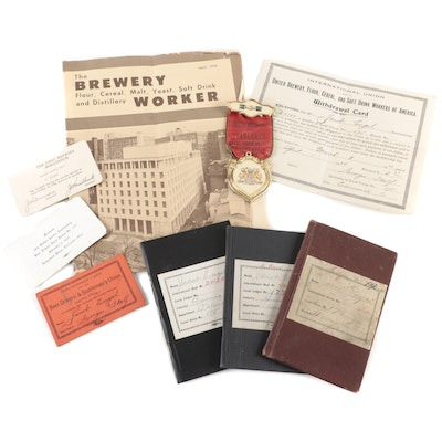 Cincinnati Beer Drivers Local 175 Union Dues Books, Ribbon, and Newsletter
