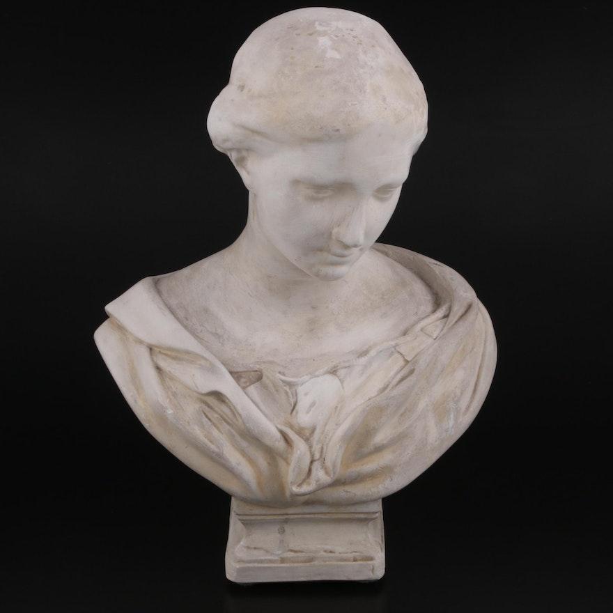 Musee du Lourvre Cast Plaster Bust of Classical Female Figure