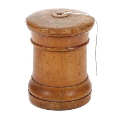 Victorian Lignum Vitae String Dispenser, 19th Century
