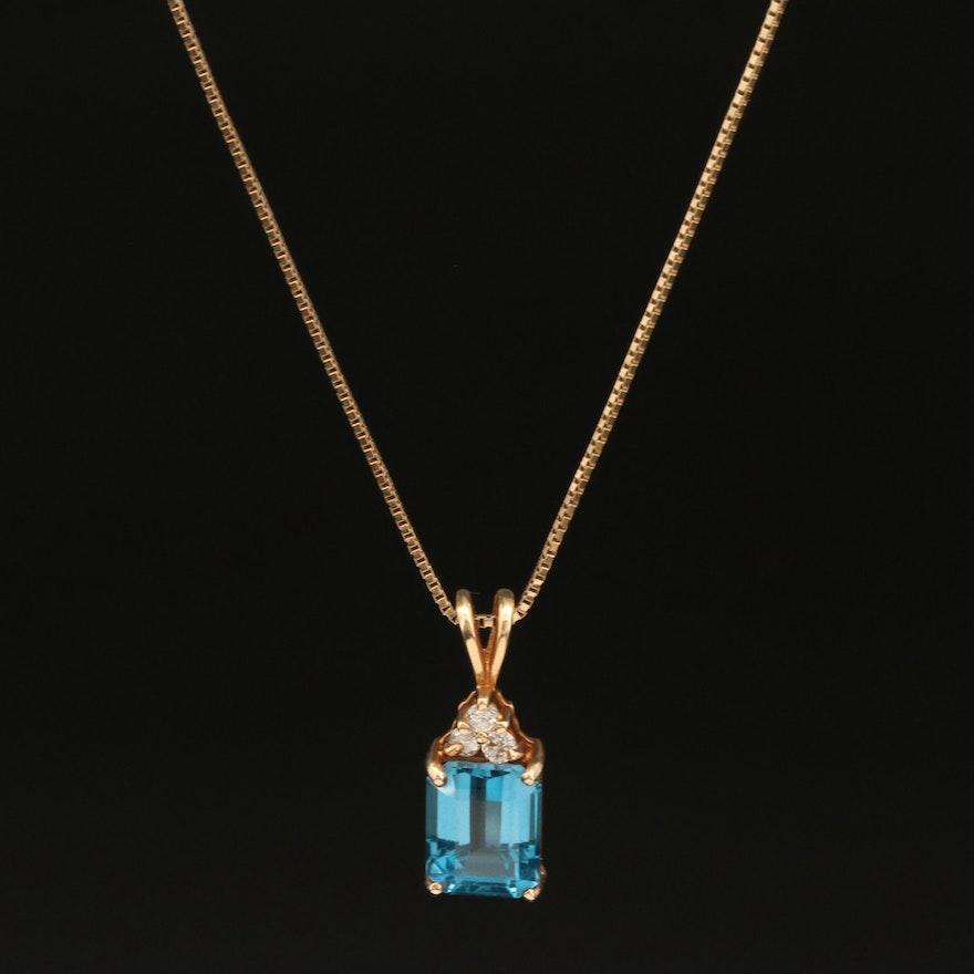 14K Swiss Blue Topaz and Diamond Pendant Necklace