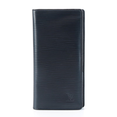 Louis Vuitton Portefeuille Brazza Long Wallet in Blue Marine Epi Leather