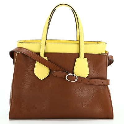 Gucci Bicolor Two-Way Shoulder Tote Bag in Brown and Yellow Leather