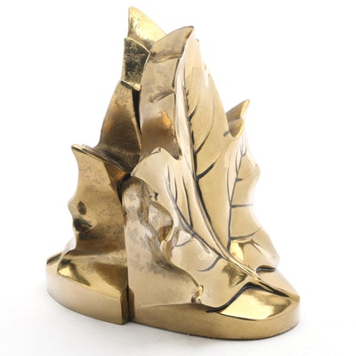 Brass Toned Metal Maple Leaf Figural Bookends, Late 20th Century