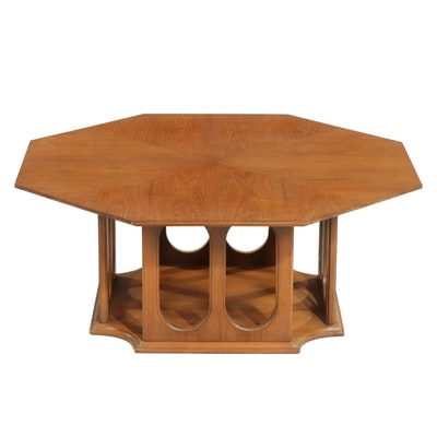 Mid Century Modern Walnut Octagonal Coffee Table