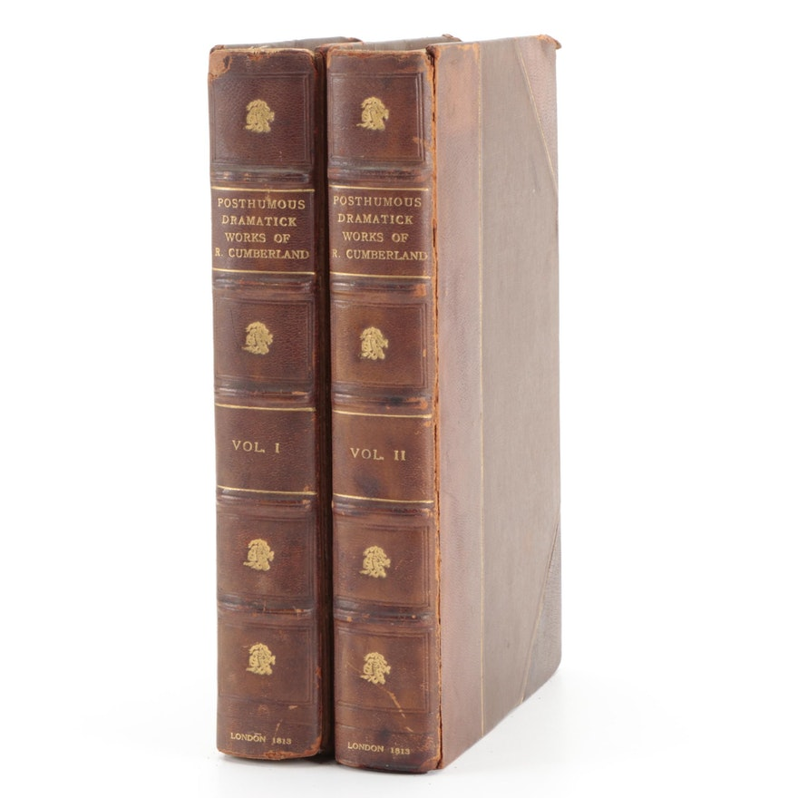 """The Posthumous Dramatick Works of Richard Cumberland"" Two-Volume Set, 1813"