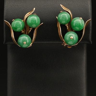 Vintage 14K Jadeite Berry Cluster Clip Earrings