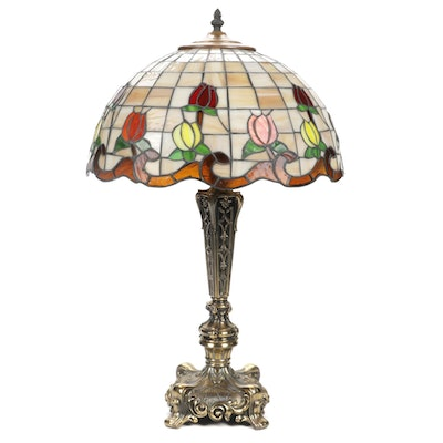 Loevsky & Loevsky Table Lamp with Stained and Slag Glass Water Lilies Shade