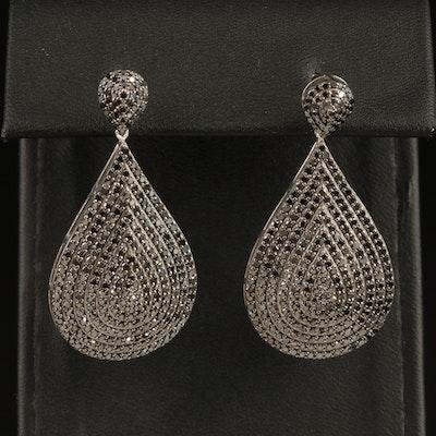 Sterling 1.90 CTW Fancy Black Diamond Teardrop Earrings