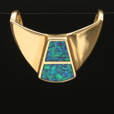 14K Opal Inlay Slide Pendant
