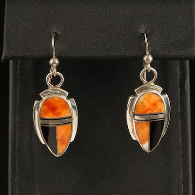 George Begay Navajo Diné Sterling Spiny Oyster and Enamel Inlay Earrings