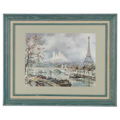 Offset Lithograph After Maurice Legendre of Paris Cityscape