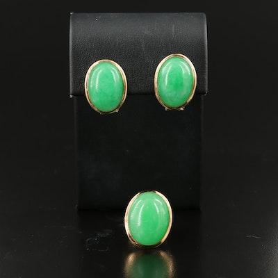14K Jadeite Earrings and Ring