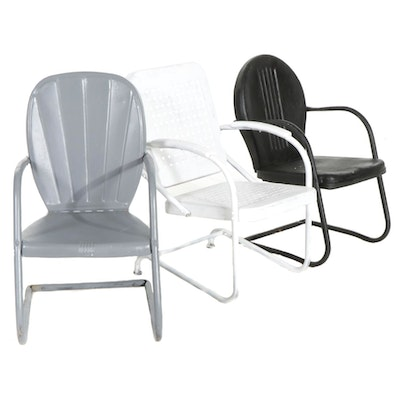 Three Painted Metal Patio Chairs, Mid to Late 20th Century