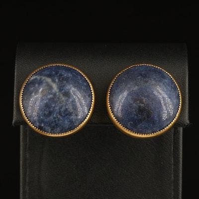 Sodalite Button Clip Earrings