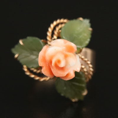 14K Carved Coral Flower and Nephrite Leaf Ring with Braided Detail