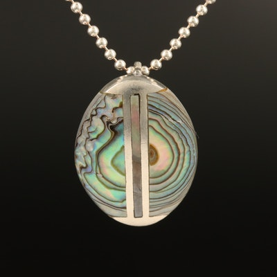 Sterling Silver Abalone Pendant Necklace